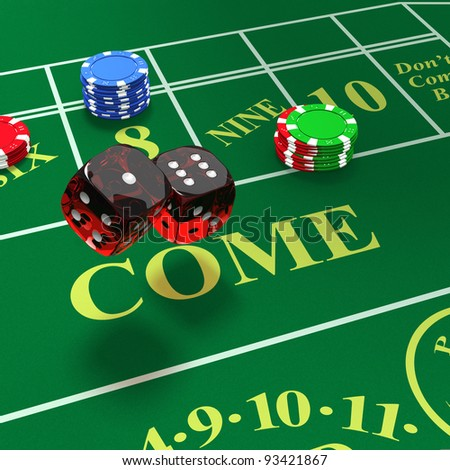 Shooting craps with bets showing - stock photo