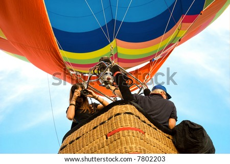 shooting from the hot air balloon - stock photo