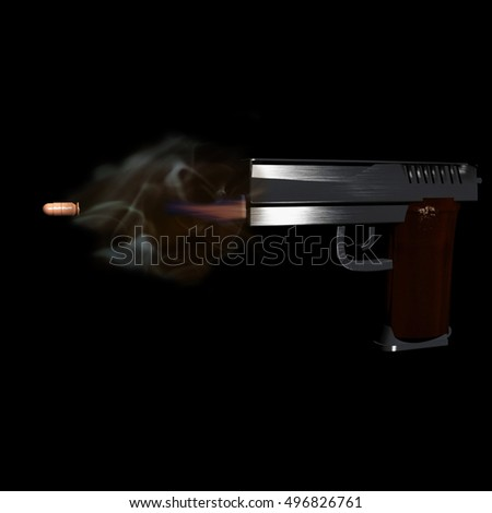 Shooting gun in the black, 3d rendering