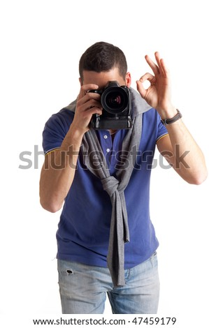 shooting photographer vertical shoot - stock photo