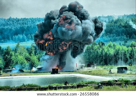 Shooting show at military exhibition in Nizhniy Tagil, Russia - stock photo