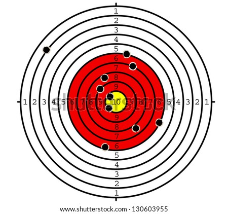 Shooting target with holes for sport or military design. Vector version also available in gallery - stock photo