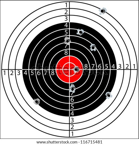 Shooting target, with holes pierced by bullets, raster copy - stock photo