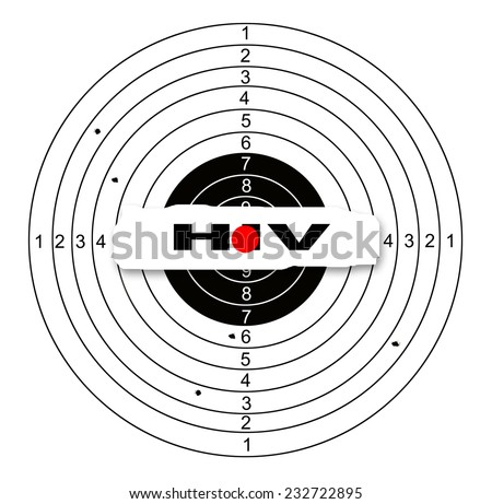Shooting target with word hiv made in 2d software