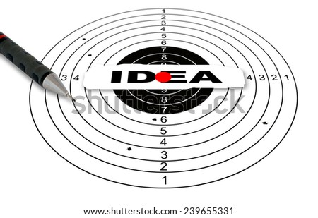 Shooting target with word idea made in 2d software