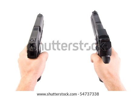 Shooting. Two hands. Isolated - stock photo