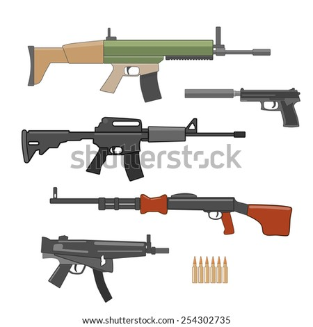 shooting weapons set illustration