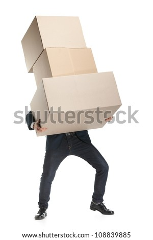 Shop assistant carries the heavy parcel, isolated, white background - stock photo