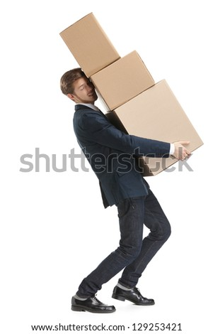Shop assistant carries the parcel consisting of three boxes, isolated, white background - stock photo
