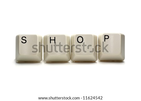 Shop - computer keys, isolated on white