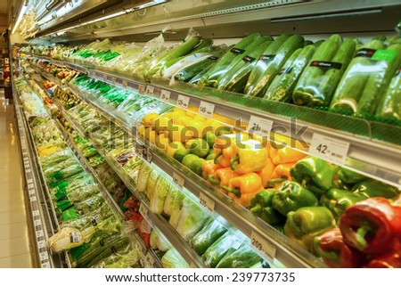 shop counter in a supermarket with small depth of field - stock photo