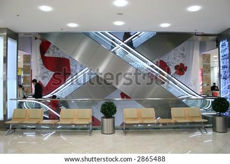 shop escalator - stock photo