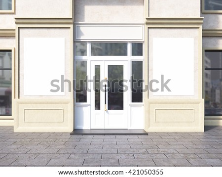 Shop exterior with two blank posters. Mock up, 3D Rendering - stock photo