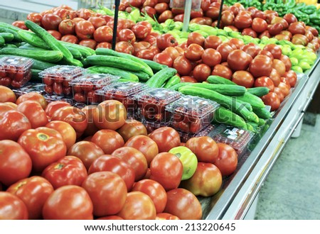 Shop for fresh vegetables - tomatoes - cucumbers - jil�³  - stock photo