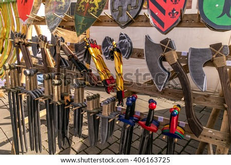 Shop for swords, dagger and viking tools - stock photo