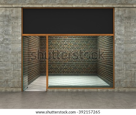 Shop Front. Exterior horizontal windows empty for your store product presentation or design. - stock photo