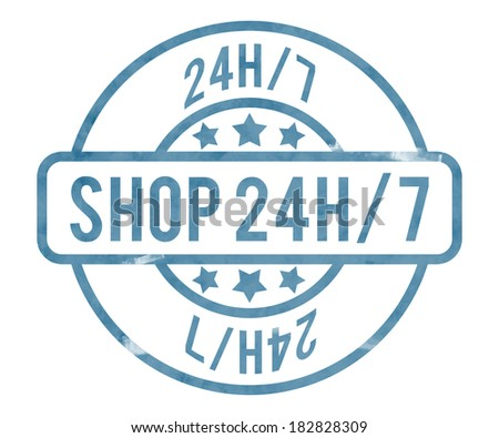 Shop 24h Stamp - stock photo