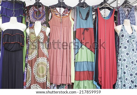 Shop hippies dressed in urban market, fashion - stock photo