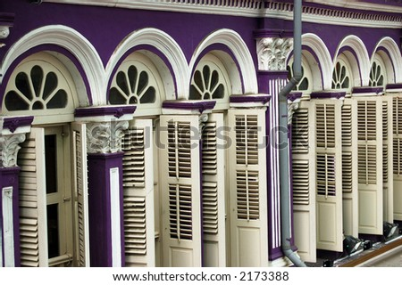 Shop House windows in Singapore - stock photo