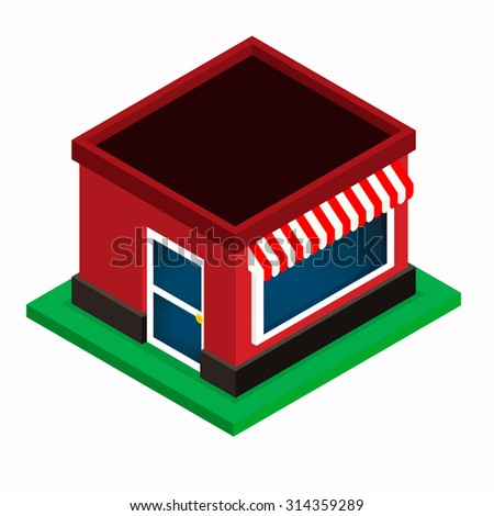 Shop icon, isometric building on white background