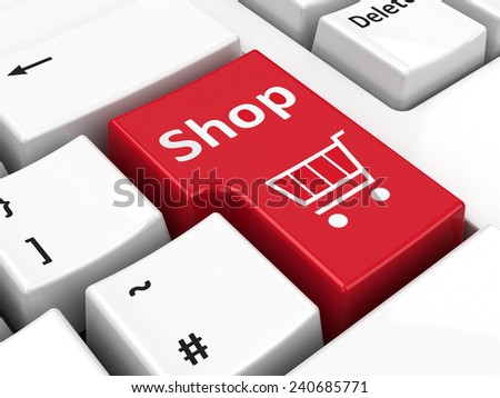 Shop key on the computer keyboard, three-dimensional rendering - stock photo