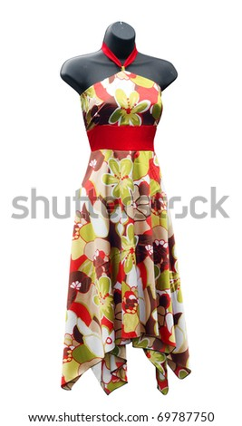 Shop Mannequin wearing a floral Dress isolated with clipping path - stock photo