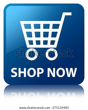 Shop now blue square button - stock photo