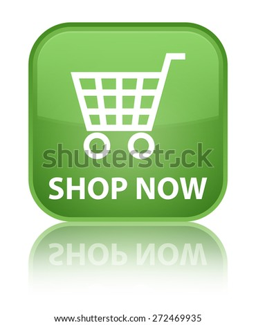 Shop now soft green square button - stock photo