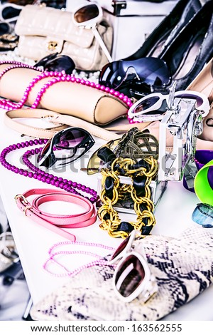 Shop of fashion accessories and footwear. - stock photo