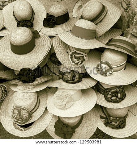 Shop of the straw hats, Mexico (stylized retro) - stock photo