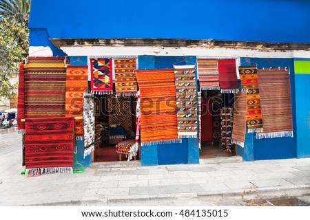 Shop of traditional Mexico rugs in Oaxaca, Mexico.