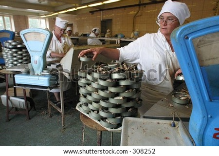 Shop on manufacture fish potted goods *** Local Caption *** Editorial, No Release Required
