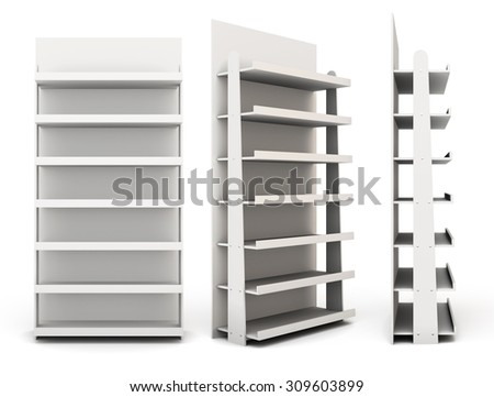 Shop racks from different angles  isolated on white background. 3d - stock photo