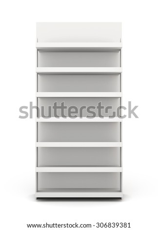Shop racks front view isolated on white background. 3d render image. - stock photo
