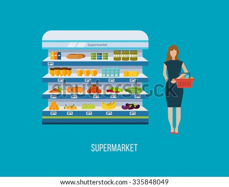 Shop, supermarket interior shelf with fruits, vegetables, milk, honey, drinks, preserves. Healthy eating and eco food.  - stock photo