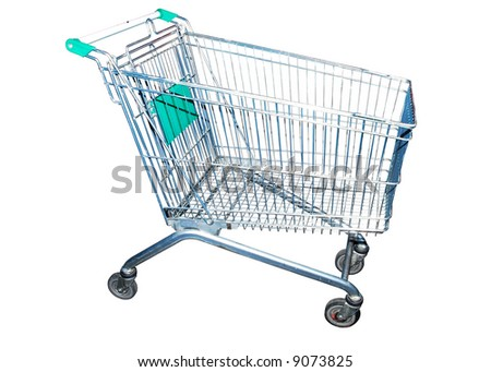 shop trolley over white - stock photo