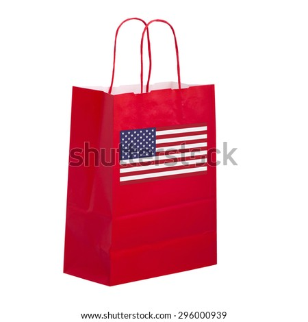 Shop USA. Red carrier bag with flag, isolated. - stock photo