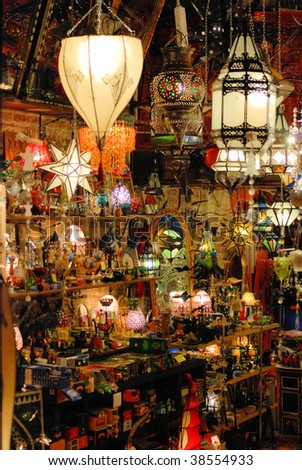 shop with decorative east goods from morocco, india, pakistan. barcelona, spain - stock photo