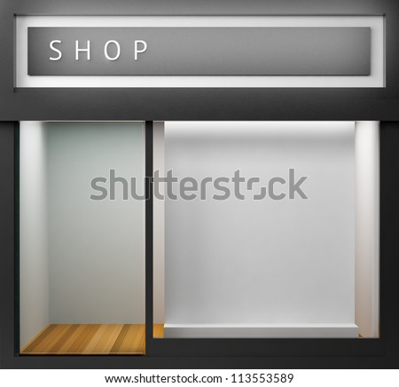 Shop with empty display - stock photo