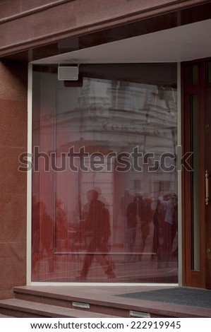 Shop with glass windows and doors, front view - stock photo