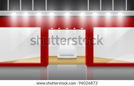 Shop with glass windows and doors, front view. - stock photo