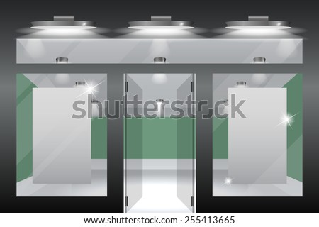 Shop with glass windows and doors, front view.Part of set - stock photo