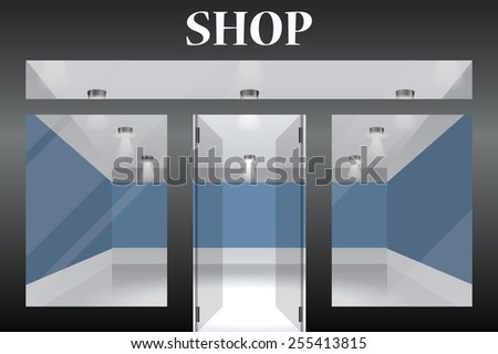 Shop with glass windows and doors, front view. Part of set.  - stock photo