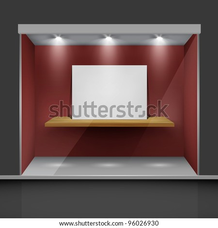 Shop with glass windows and open doors, front view. - stock photo