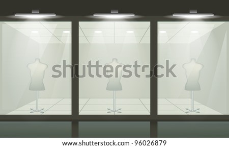 Shop with glass windows, front view. - stock photo
