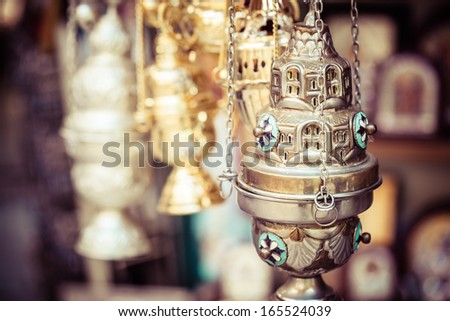 Shop with religion souvenir at the old city of Jerusalem  - stock photo