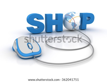 SHOP Word with Globe Earth and Computer Mouse - High Quality 3D Render
