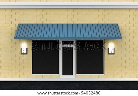 Shopfront. Building exterior shopwindow with awning and windows empty for your product presentation, paste your shop, boutique, commercial. - stock photo
