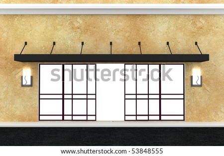 Shopfront. Series. Building exterior shopwindow with hanger awning and ...