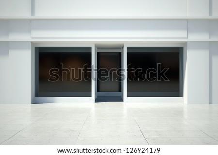 Shopfront windows in modern building - stock photo